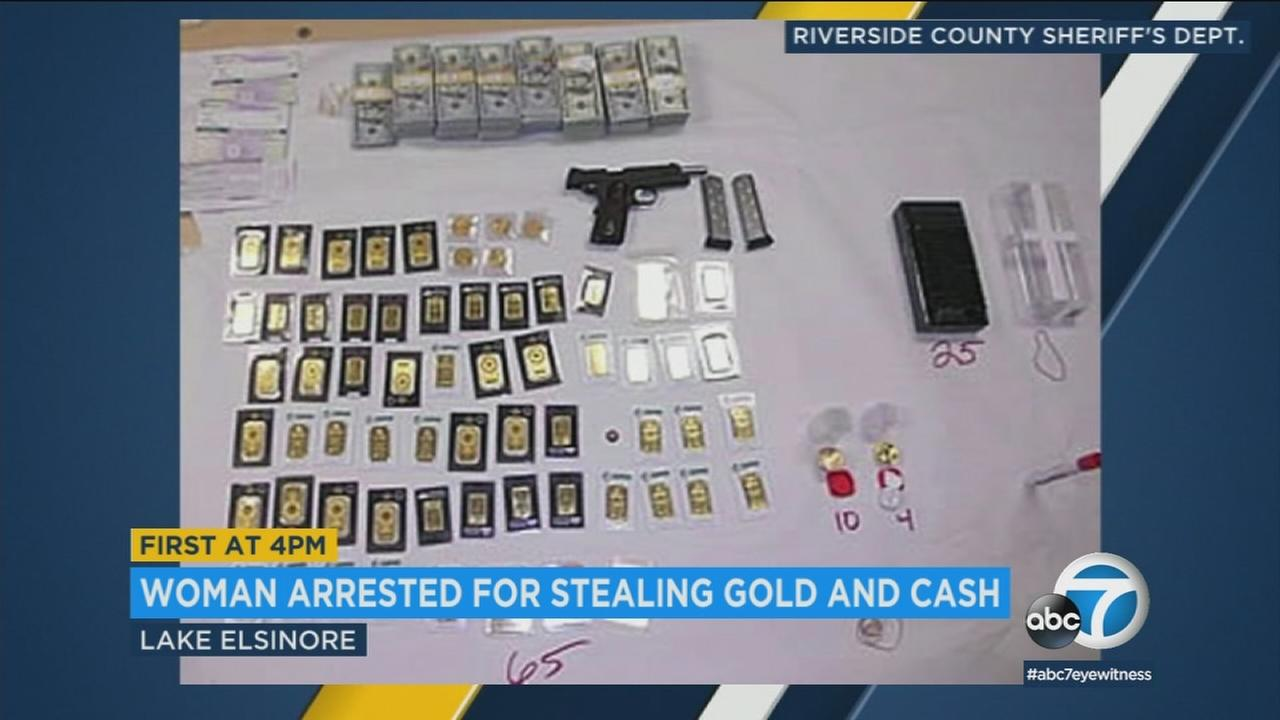Deputies arrested a woman allegedly behind the theft of $500,000 in cash and gold from a Lake Elsinore home.