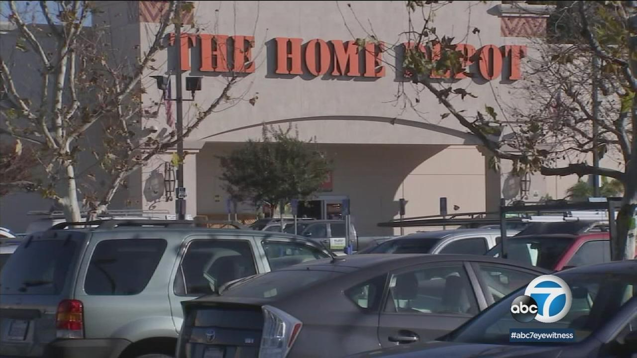 A Home Depot in Cypress Park, where a homeless man is suspected of leaving his wifes charred body parts, is shown.