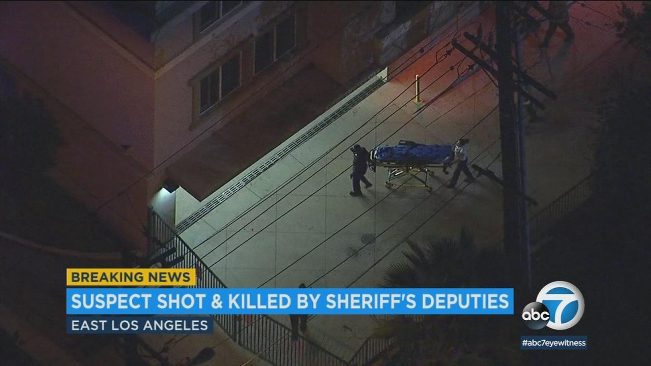 A man was killed in a deputy-involved shooting in East Los Angeles on Tuesday evening after he got into a sheriffs vehicle and drove toward a deputy, authorities said.