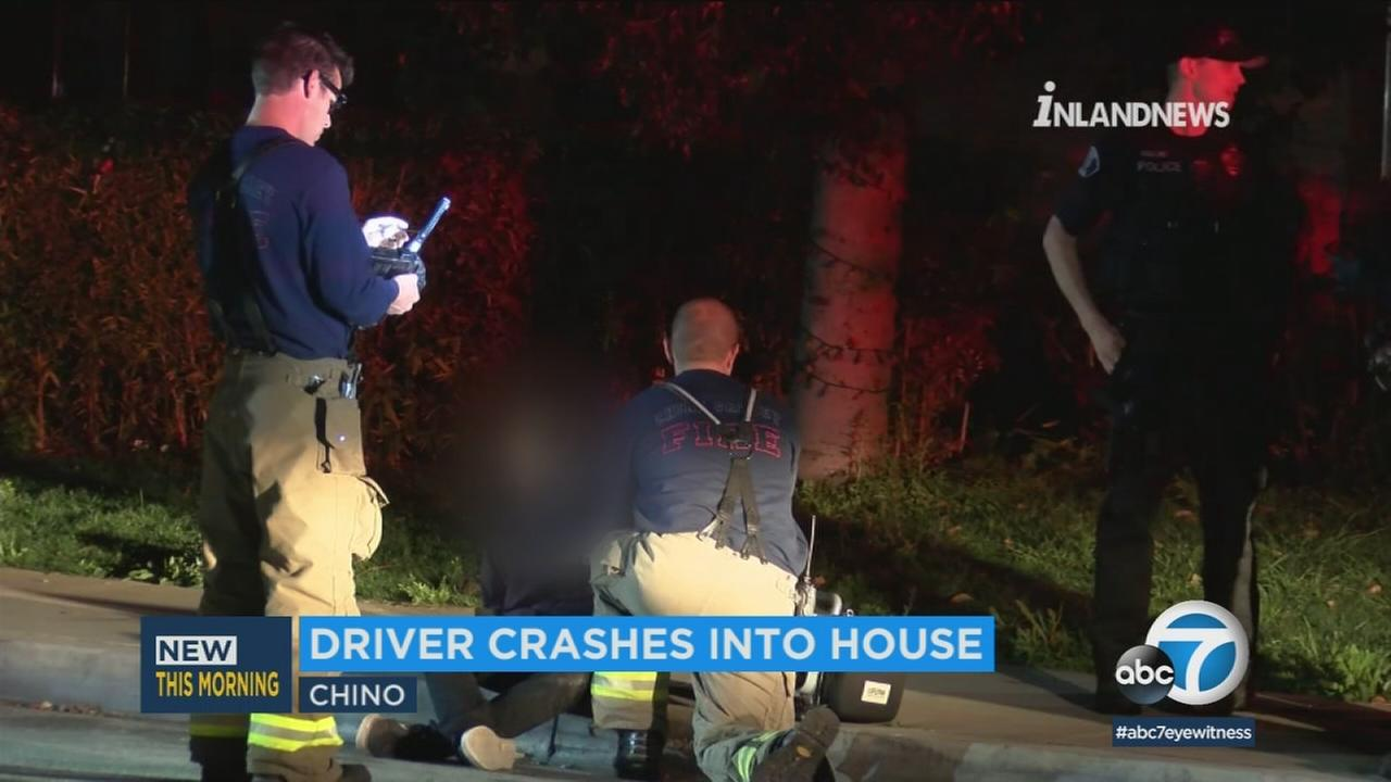 A 17-year-old suspect was arrested early Wednesday morning after a stolen car plowed into a home in Chino, authorities said.