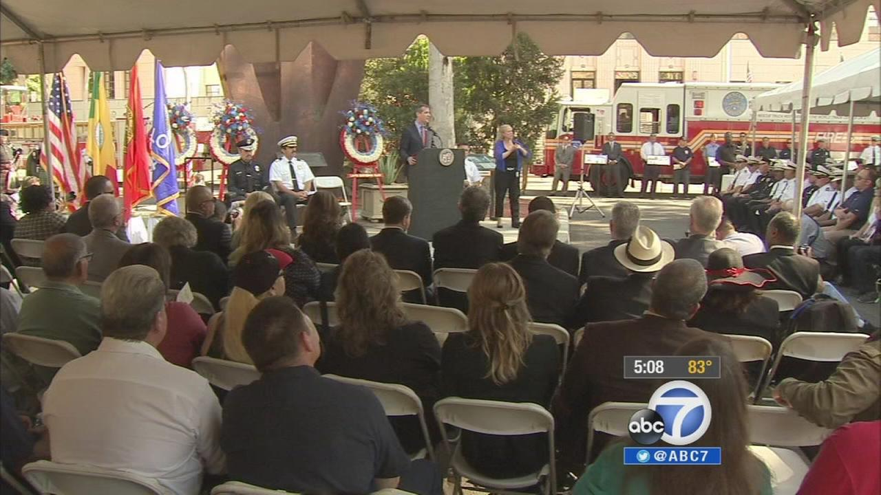 Los Angeles Mayor Eric Garcetti speaks at a 9/11 remembrance ceremony on Thursday, Sept. 11, 2014.