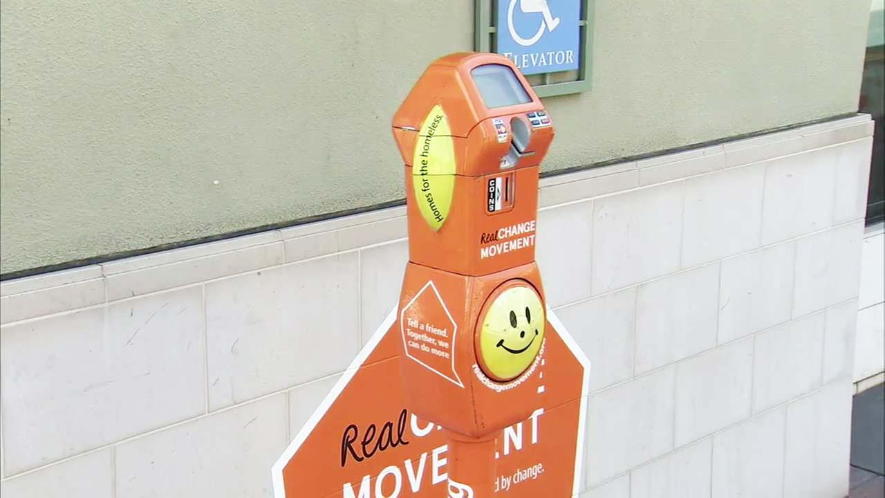 A homeless donation meter is seen in this file photo.