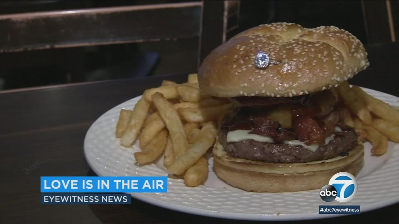 The Big Boy Burger, which is only available on Valentines Day at Paulies in Boston, comes with an unexpected side dish -- an engagement ring!