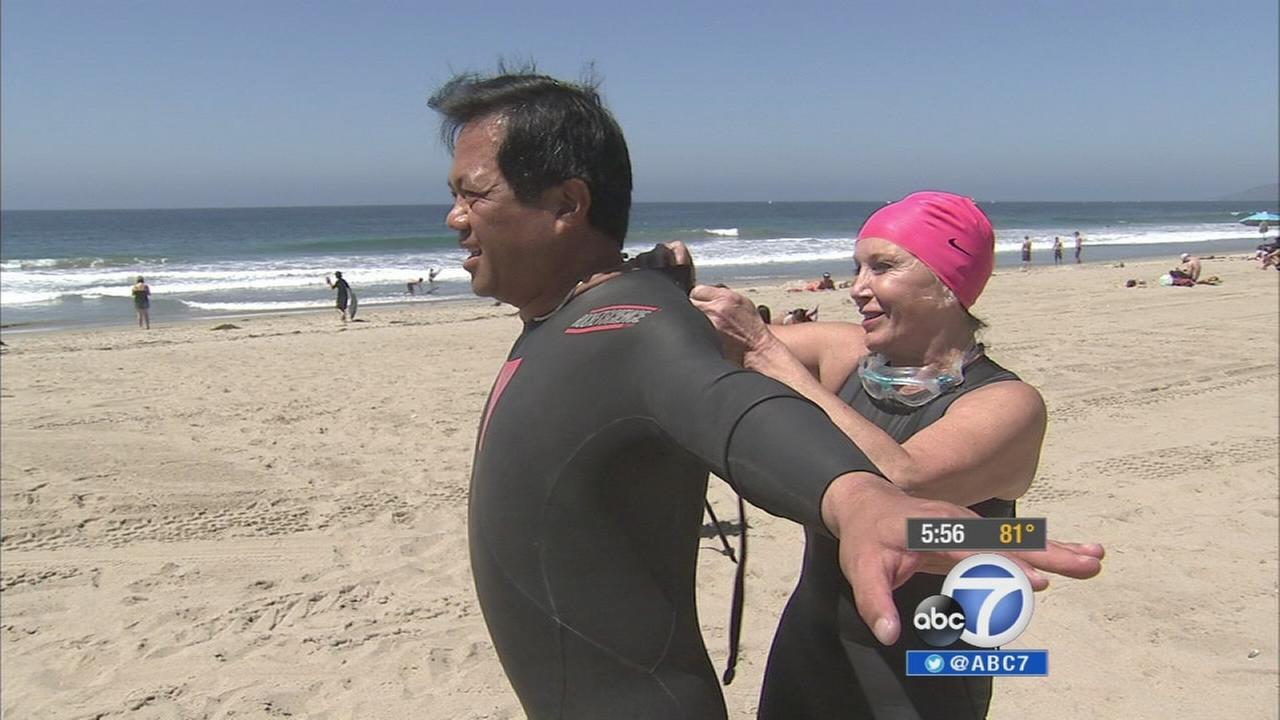 Dr. Calvin Lowe prepares for the swimming leg in the Nautica Malibu Triathlon.