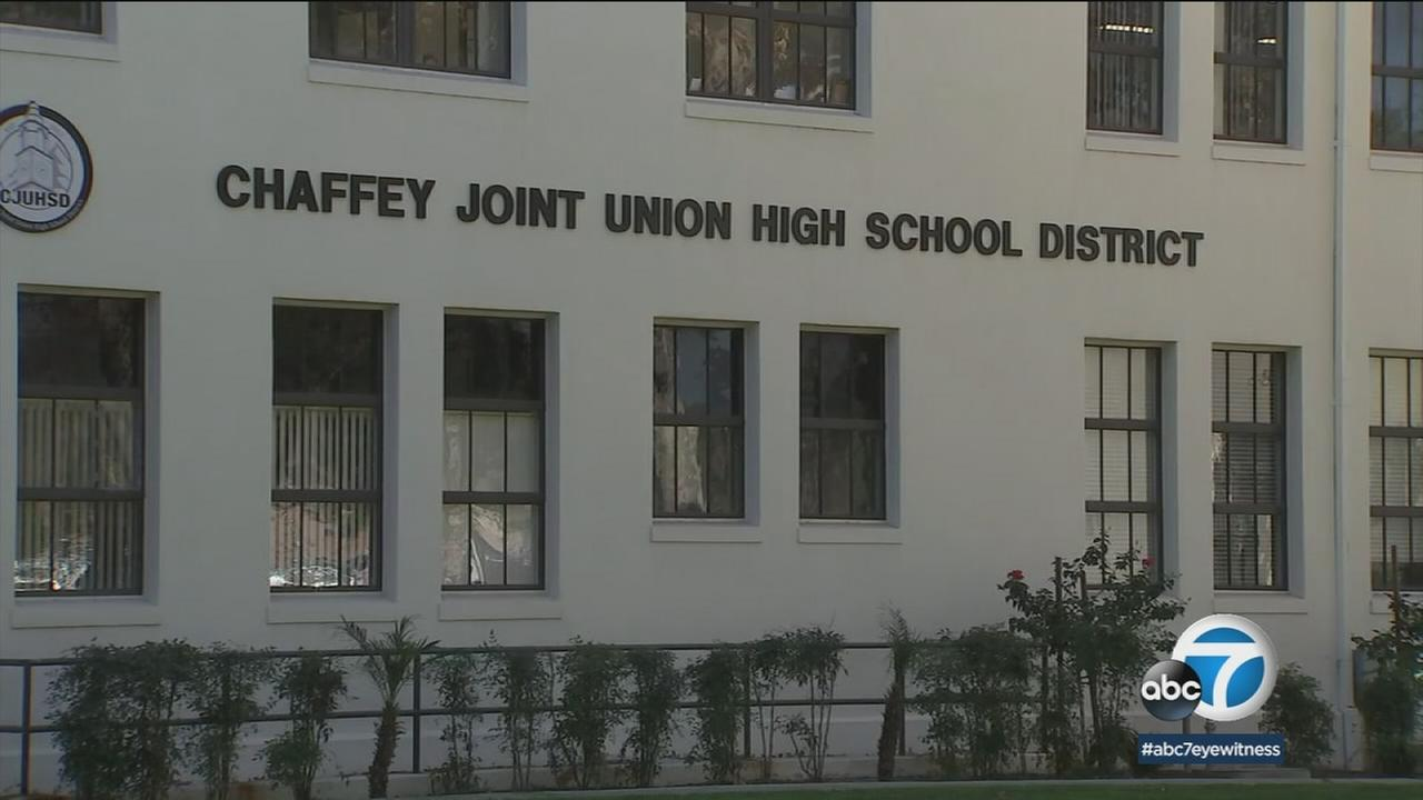 Footage published Wednesday, Feb. 7, 2017, on Snapchat, shows several students pushing and throwing punches at Chaffey High School.