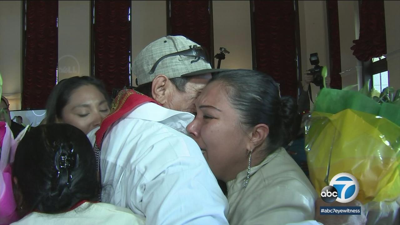 Family members were reunited with their loved ones in downtown Los Angeles after not seeing one another for years.