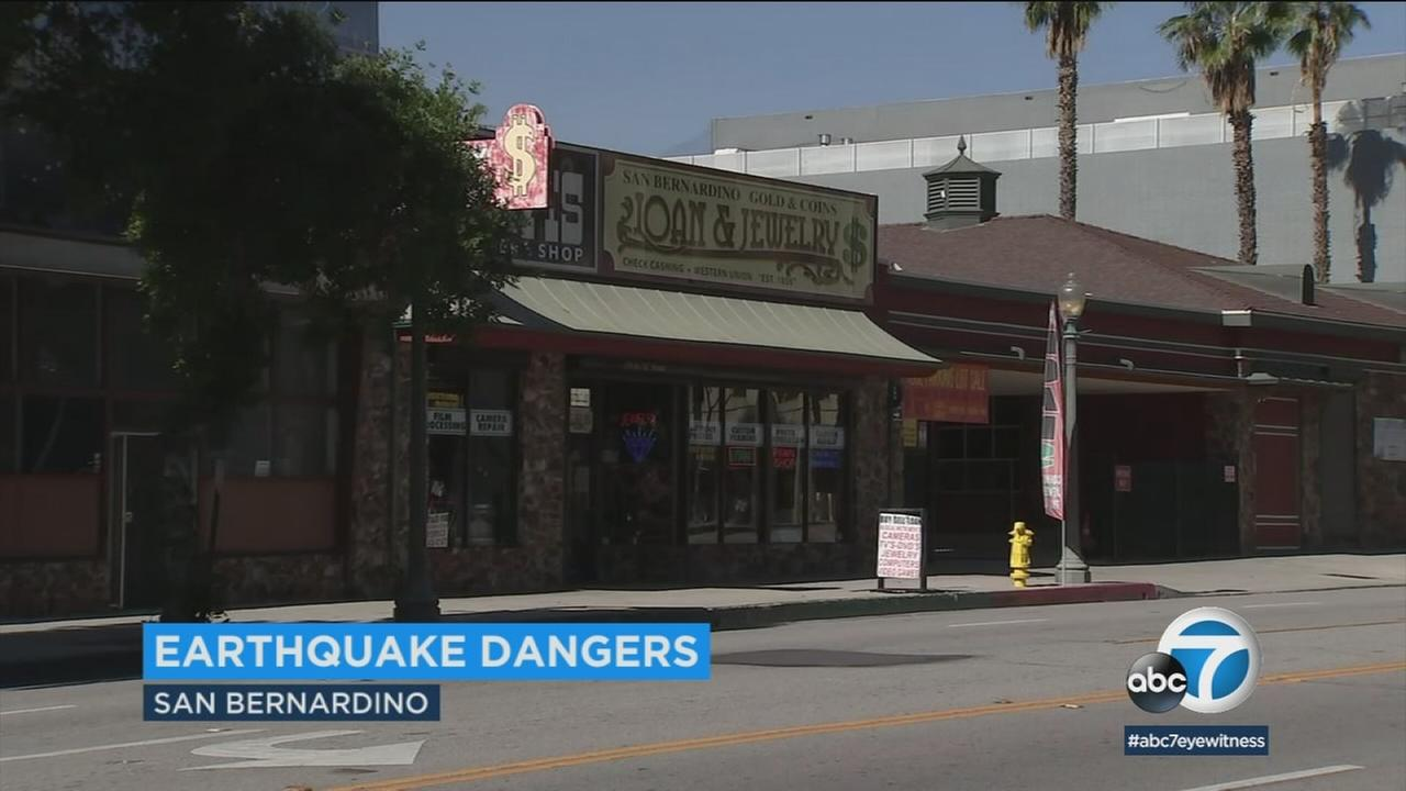 Older brick buildings in San Bernardino pose a risk of collapse in a major earthquake, experts say.