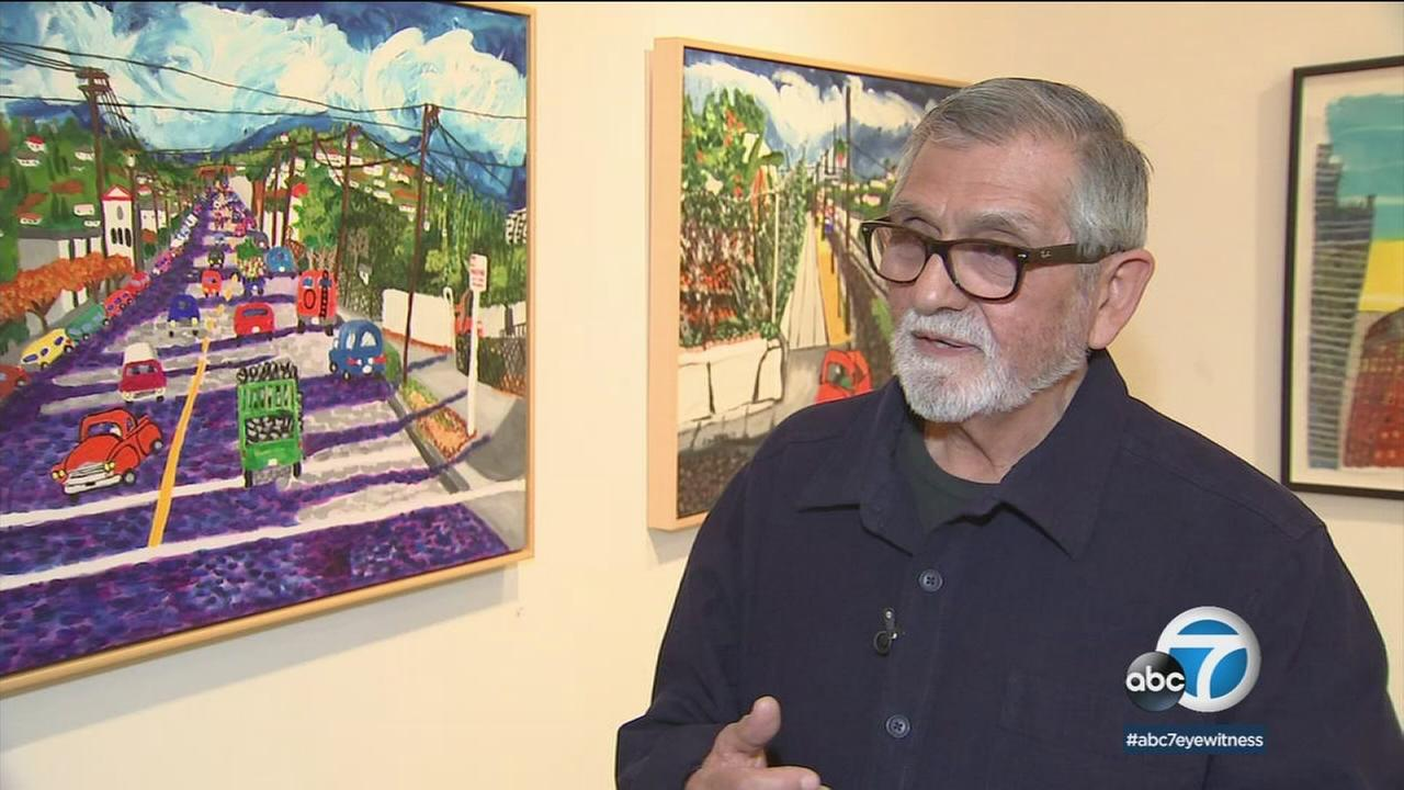 The artwork of Roberto Gutierrez, who served in the Marines during the Vietnam War, is being exhibited at Plaza de la Raza in Lincoln Heights.