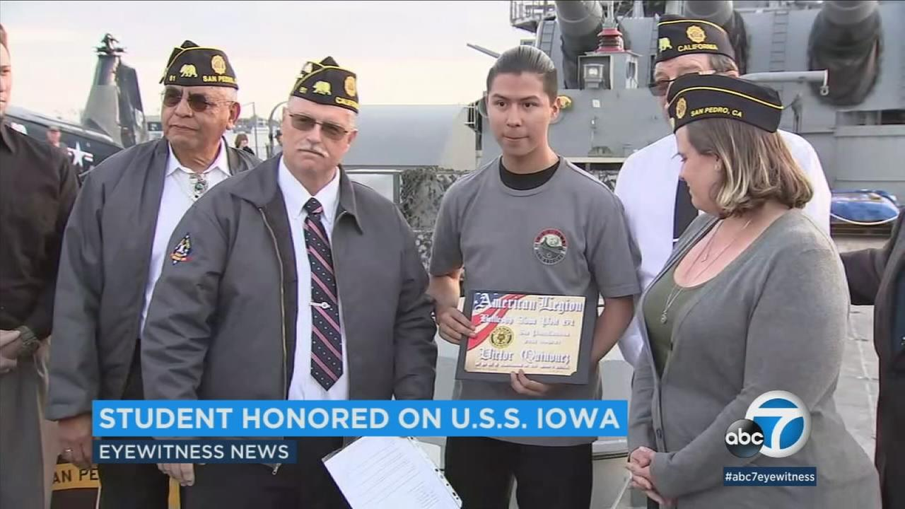 American Legion members honored Victor Quinonez for recording his teachers anti-military rant in a classroom at El Rancho High School.