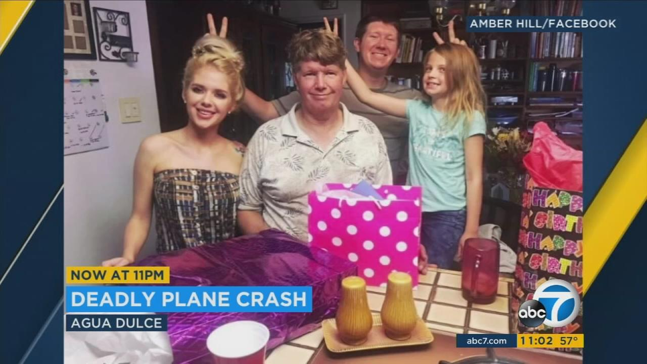 Madison, 9, her mother, Amber Hill, her stepfather, Jake Hill, and her grandfather, Tom Hastings, identified as four family members killed in a small plane crash in Agua Dulce.