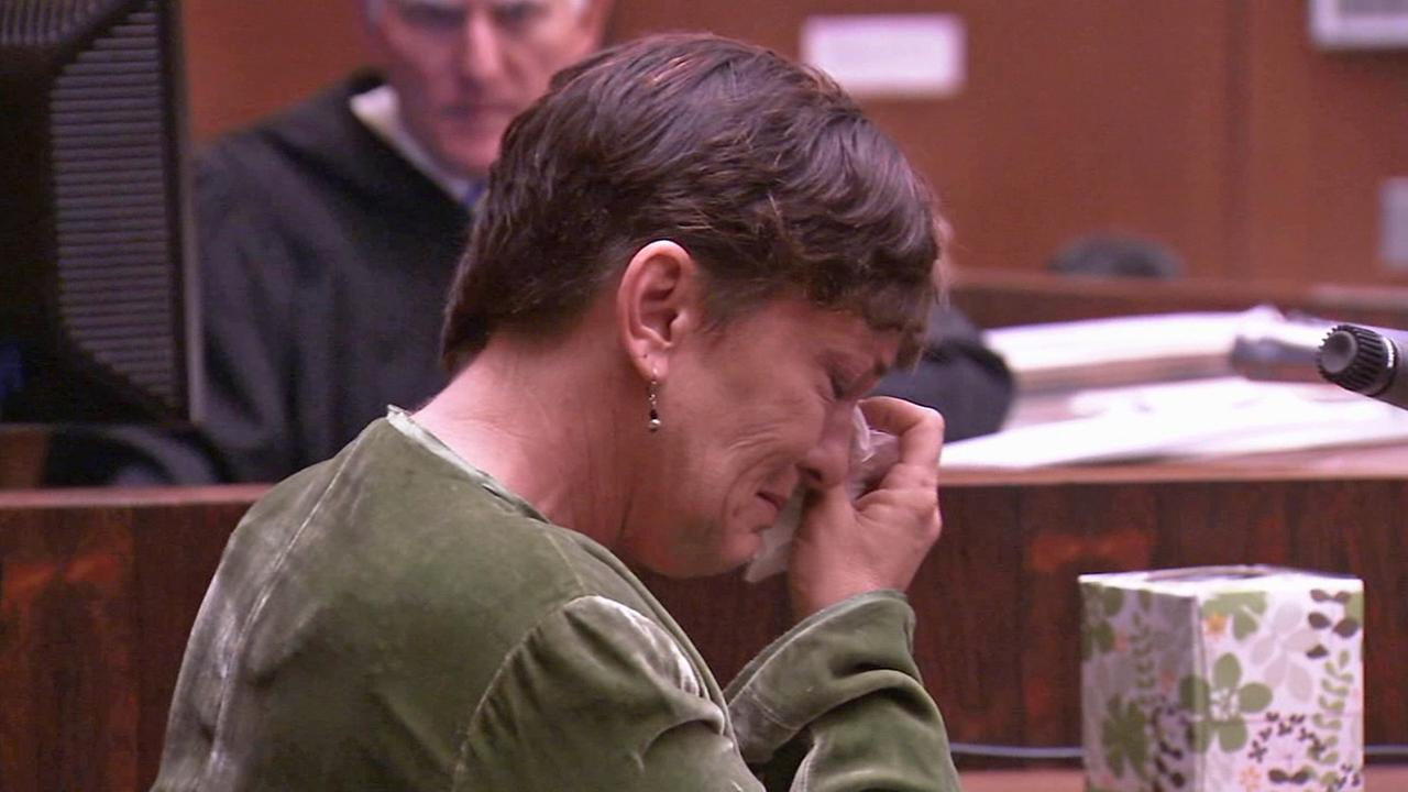 Rebecca Stafford breaks down crying during testimony in a downtown Los Angeles courtroom on Friday, Sept. 12, 2014.