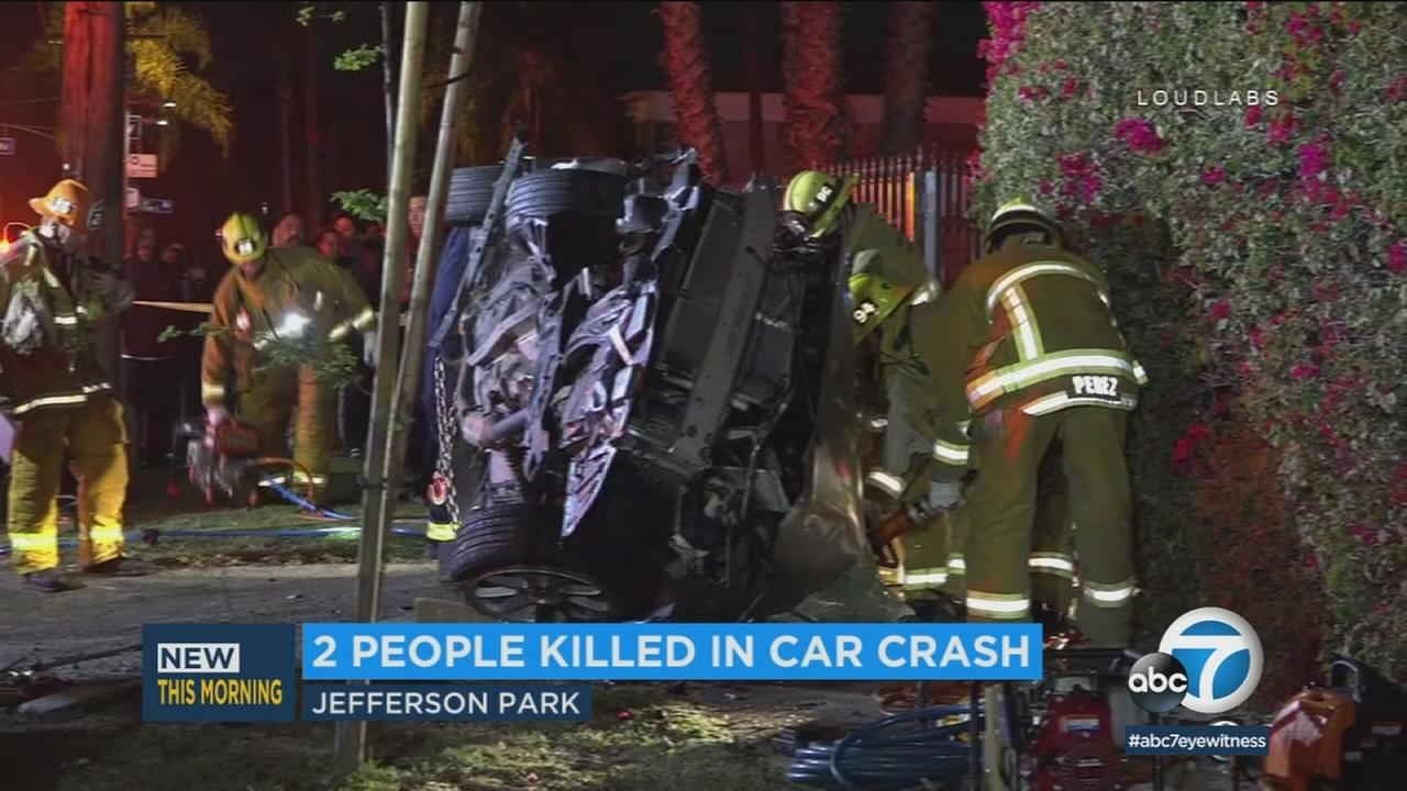 A man and woman in their 20s were killed Sunday evening in a violent two-vehicle crash in South Los Angeles that may have been the result of street racing, investigators said.
