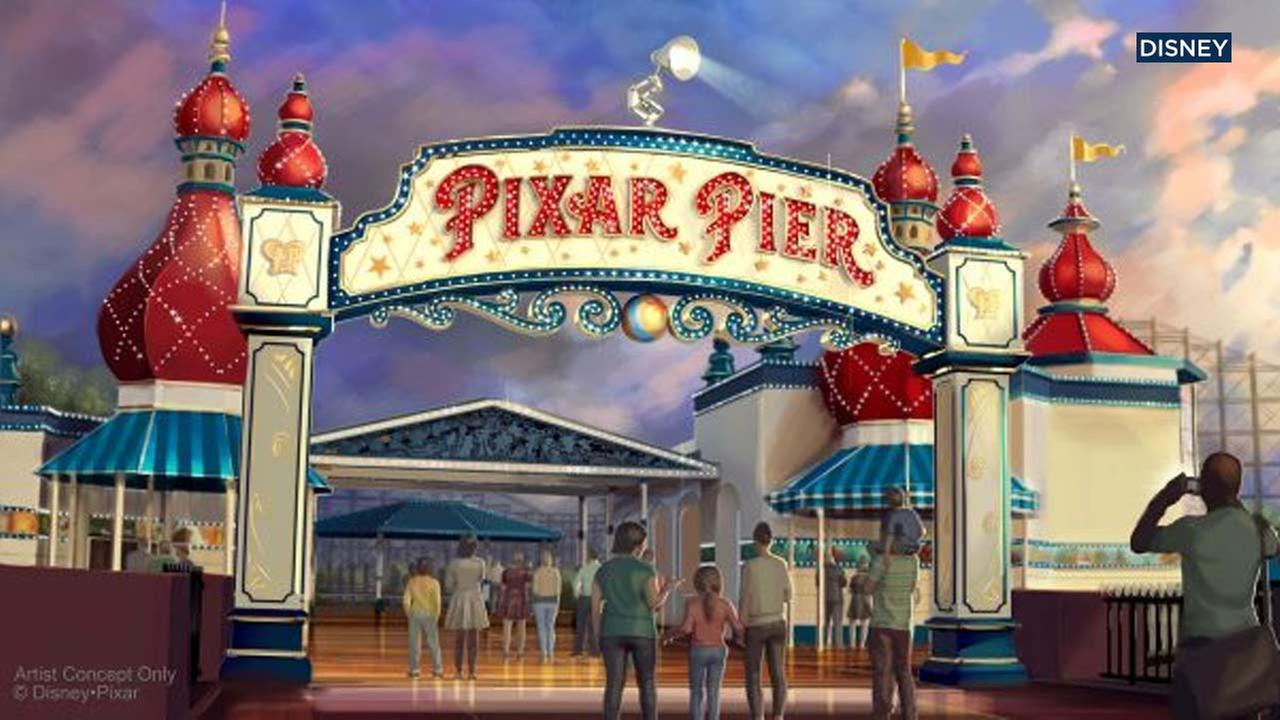 An artist rendering shows the new marquee for Pixar Pier at Disney California Adventure.