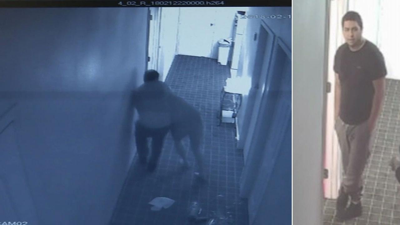 Surveillance video shows a man attacking a massage spa owner and demanding money from her in Santa Ana alongside another image of him.