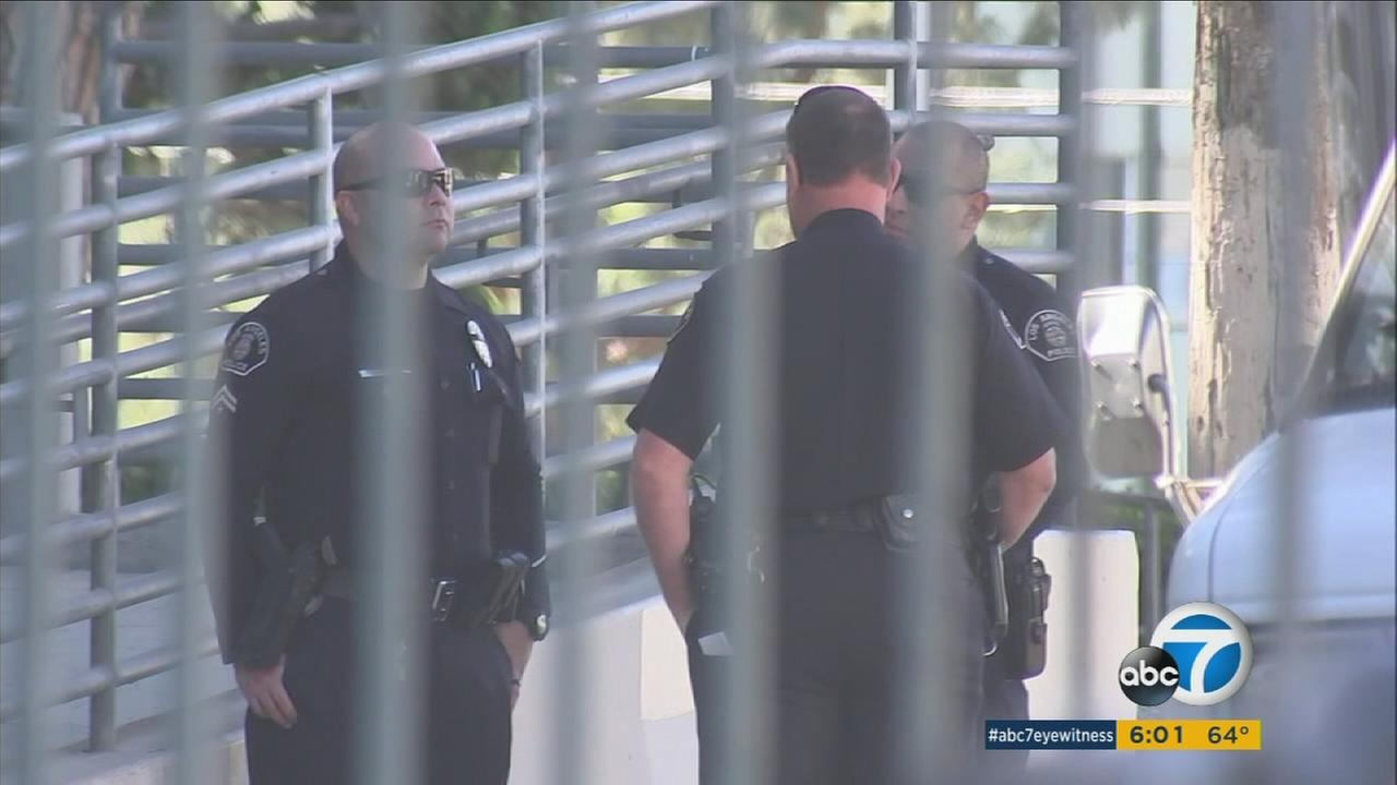 Police are maintaining a larger presence at Los Angeles schools to ease fears after the Florida shooting.