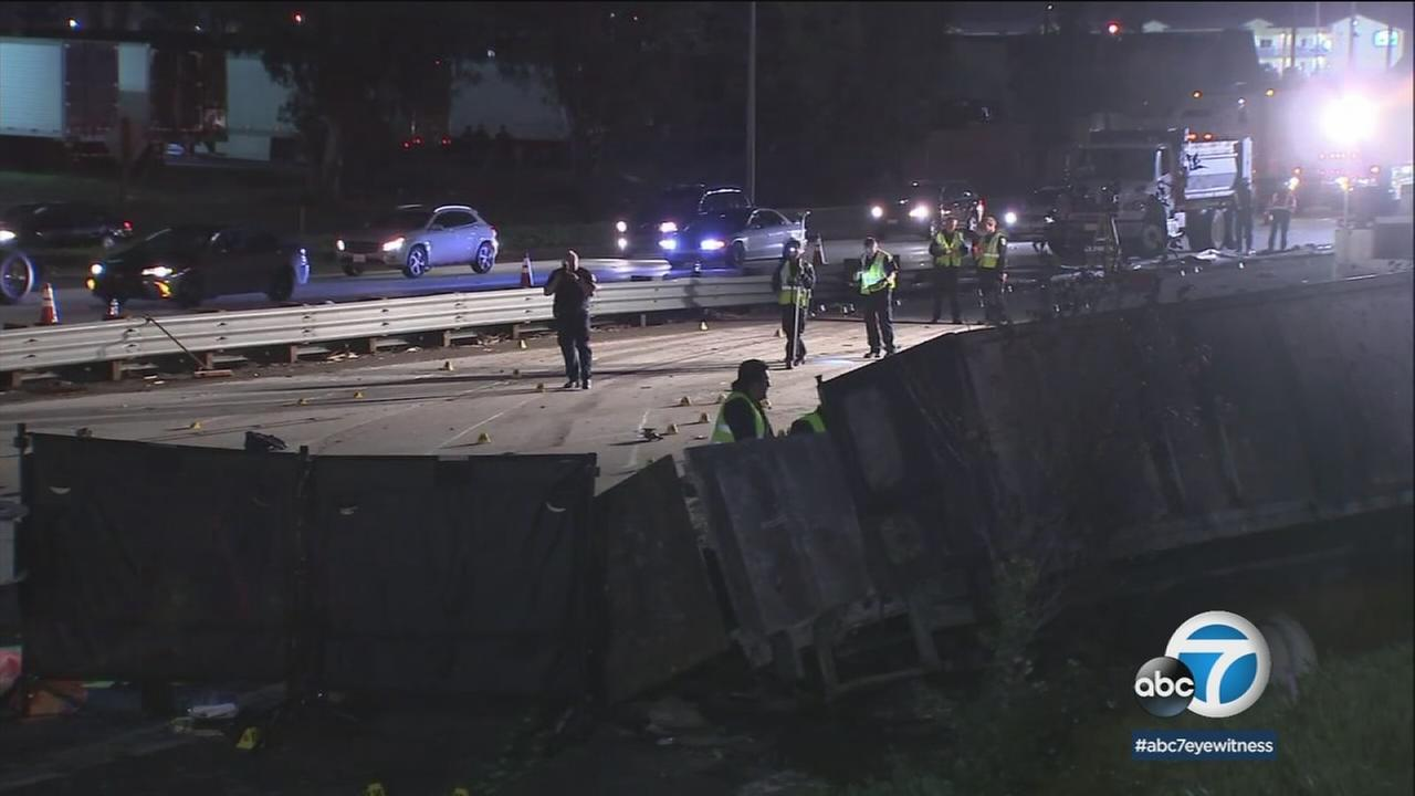 Caltrans crews were working through the night to clear the 10 freeway of wreckage and assess damage to the roadway after a crash in Rialto.
