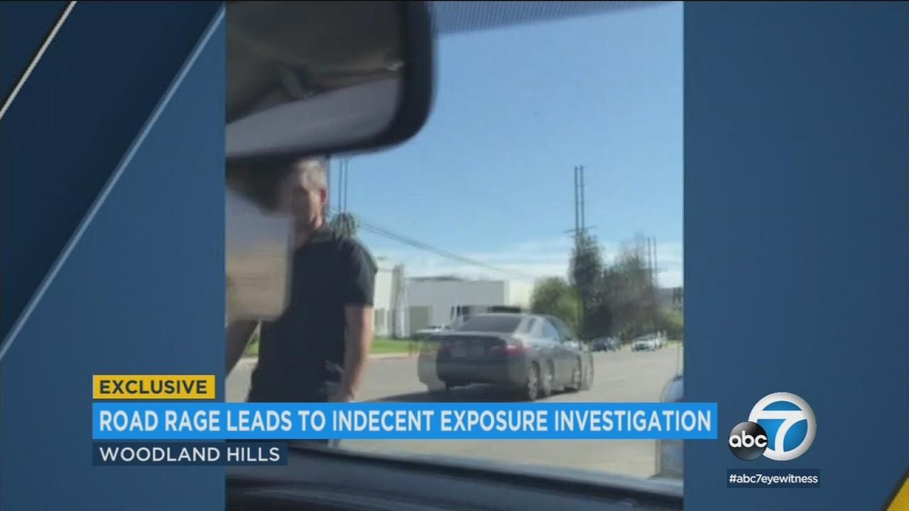 A man accused of exposing himself during a road rage incident in Woodland Hills on Sunday, Feb. 18, 2018.
