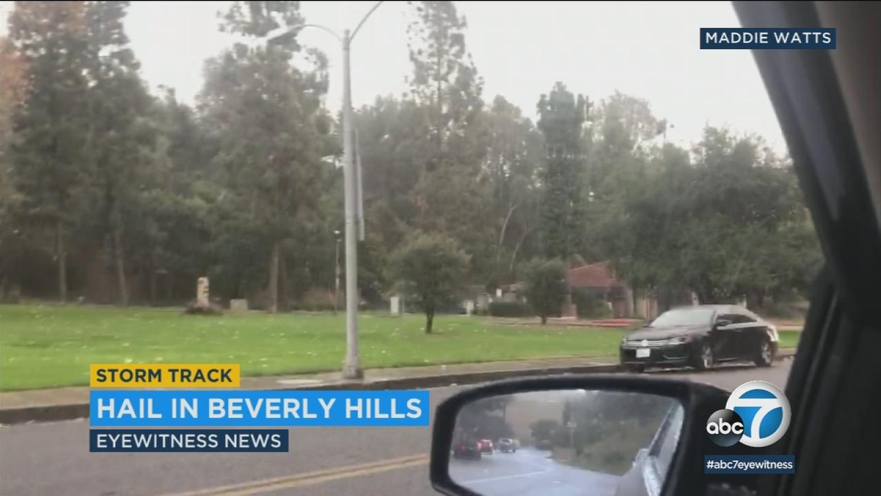 A driver captured video of hail falling in Beverly Hills near Coldwater Canyon Monday.