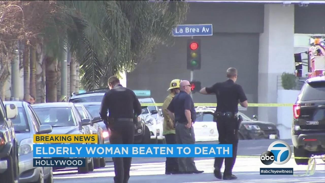 Authorities surrounded an area where a woman was beaten to death in Hollywood.