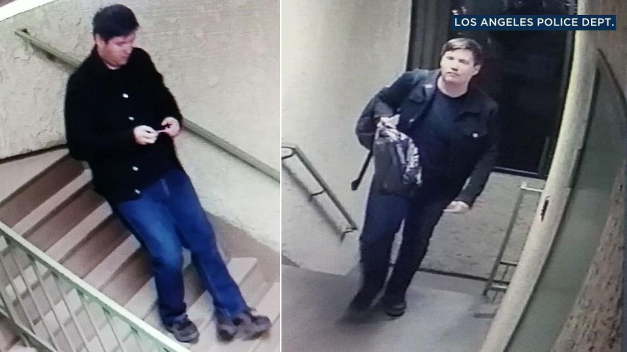 A chase and rape suspect, Jonathan Hanks, 33, is shown in surveillance video released by the LAPD in hopes of finding other possible victims.