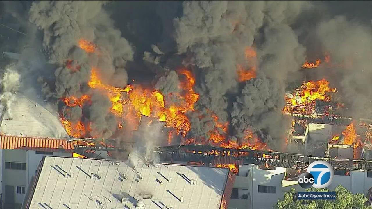 A massive blaze erupted in an apartment complex in Pico Rivera, leaving 300 people without a home on Thursday, Feb. 22, 2018.