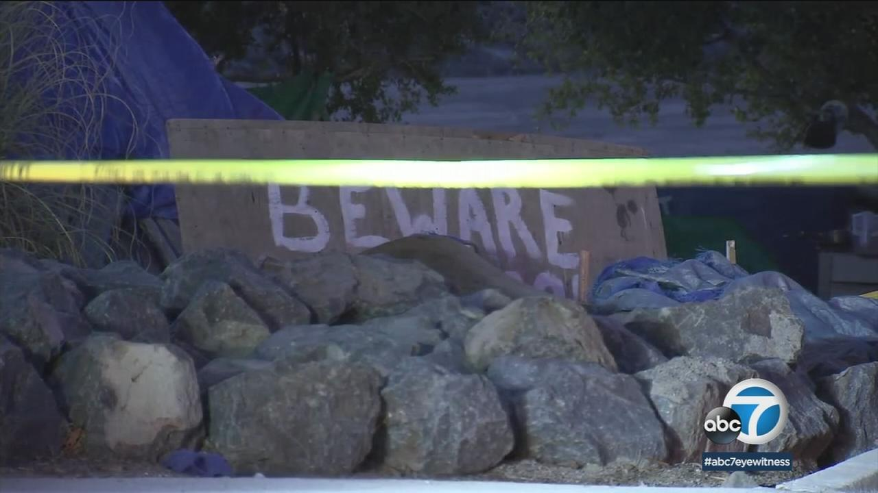 Orange County officials said they were in the process of dismantling the homeless encampment where a stabbing occurred. Friday, Feb. 23, 2018.