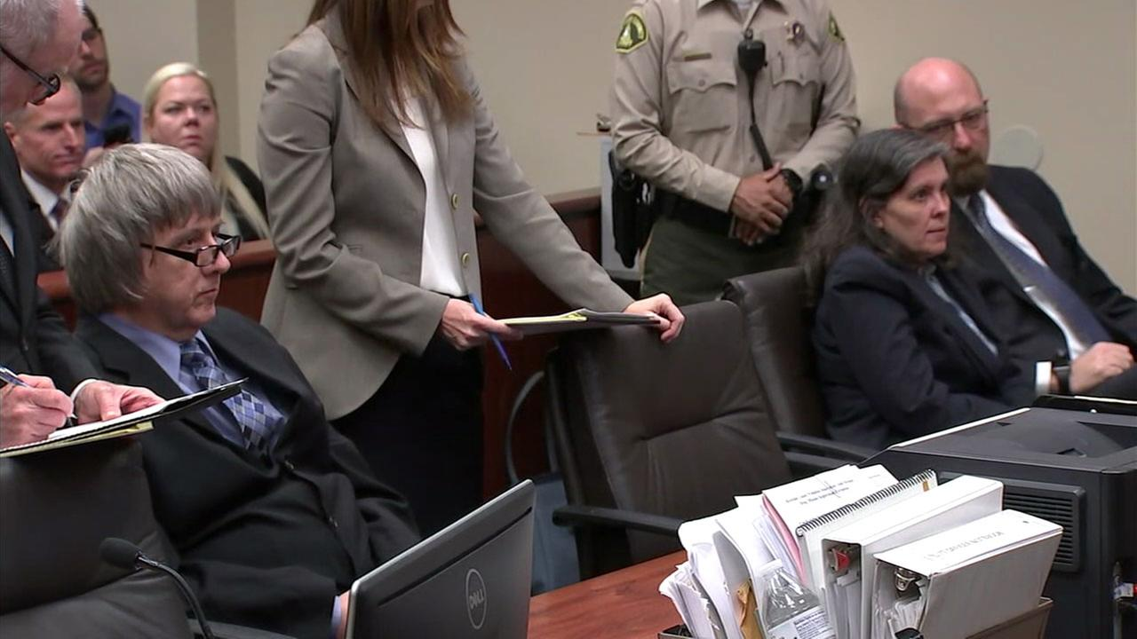 David and Louise Turpin are shown during their second court hearing in Riverside, where their judge amended the charges against them and added three more.