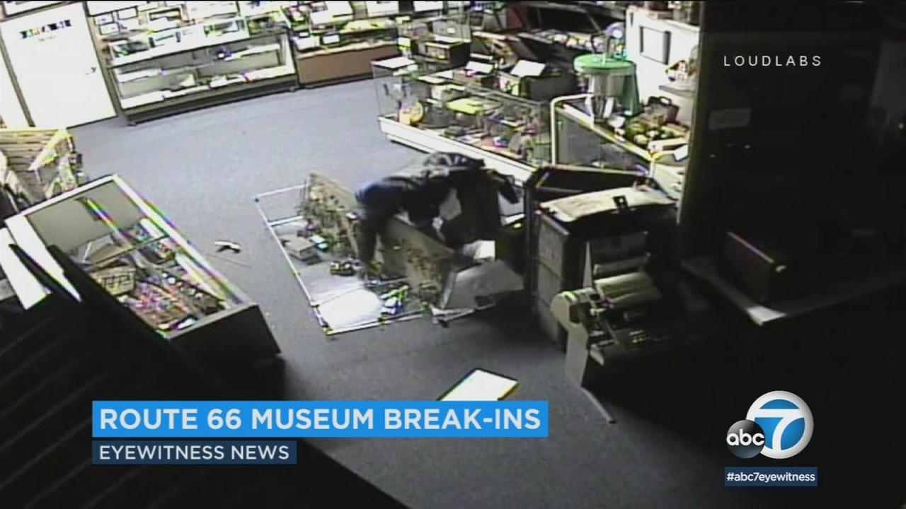 Surveillance video shows a suspect breaking into the Route 66 Museum in Victorville.