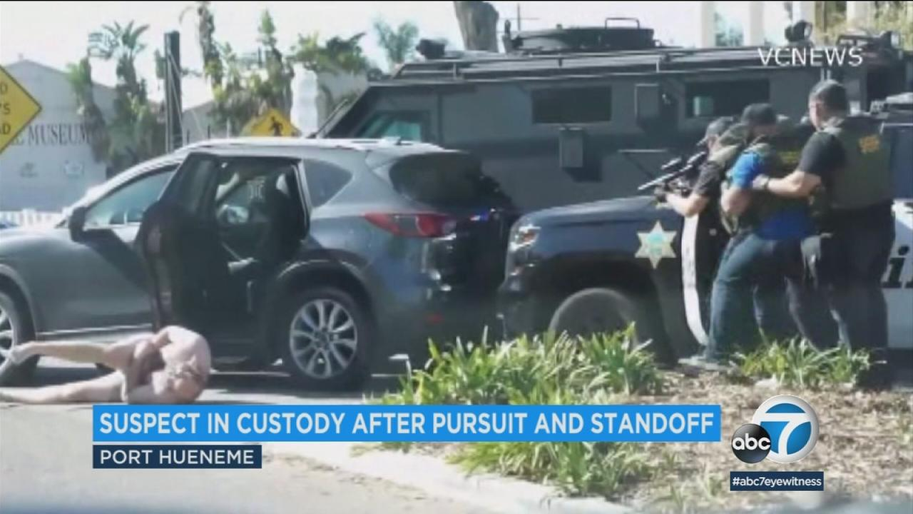 A suspected drunk driver wearing only shorts was arrested after he was shot with beanbag rounds following a chase and standoff in Port Hueneme.