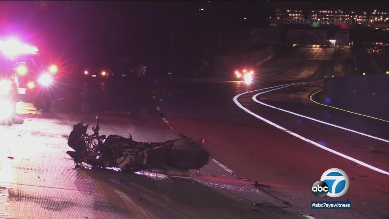 Police say a motorcyclist is lucky to be alive after a head-on crash on the  91 Freeway in Orange County, Monday, Feb. 26, 2018.