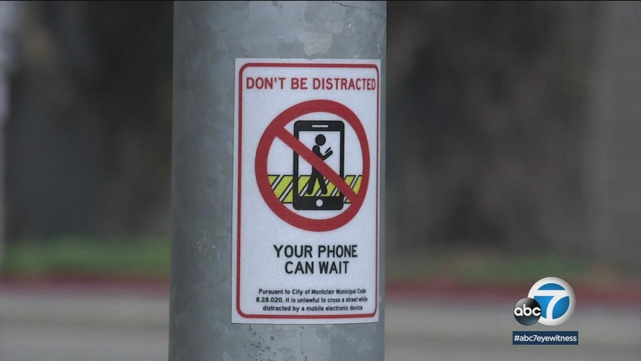The Inland Empire city of Montclair has made it illegal to cross the street while talking on a cellphone.