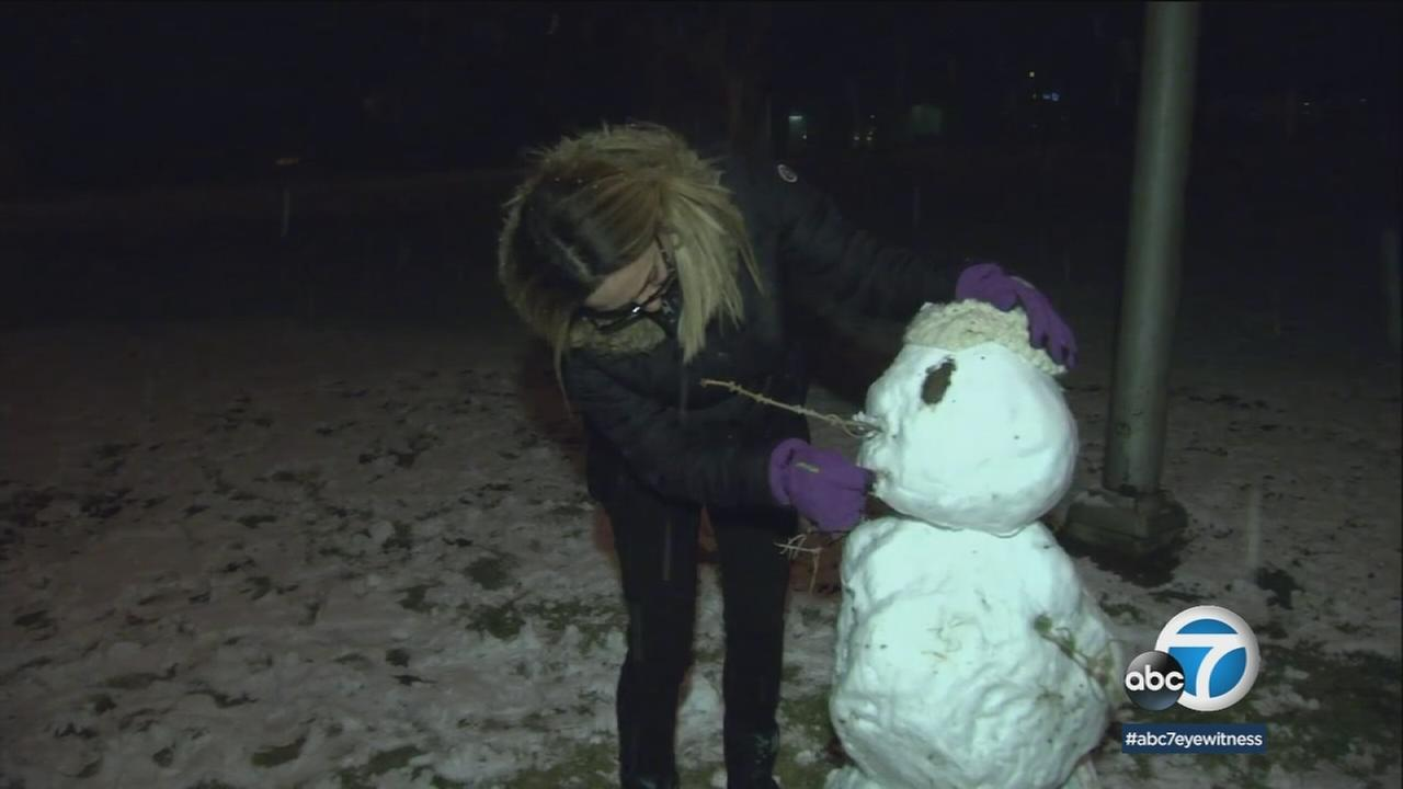 A snowman was created in Gorman as snow began to fall along the area in the grapevine.