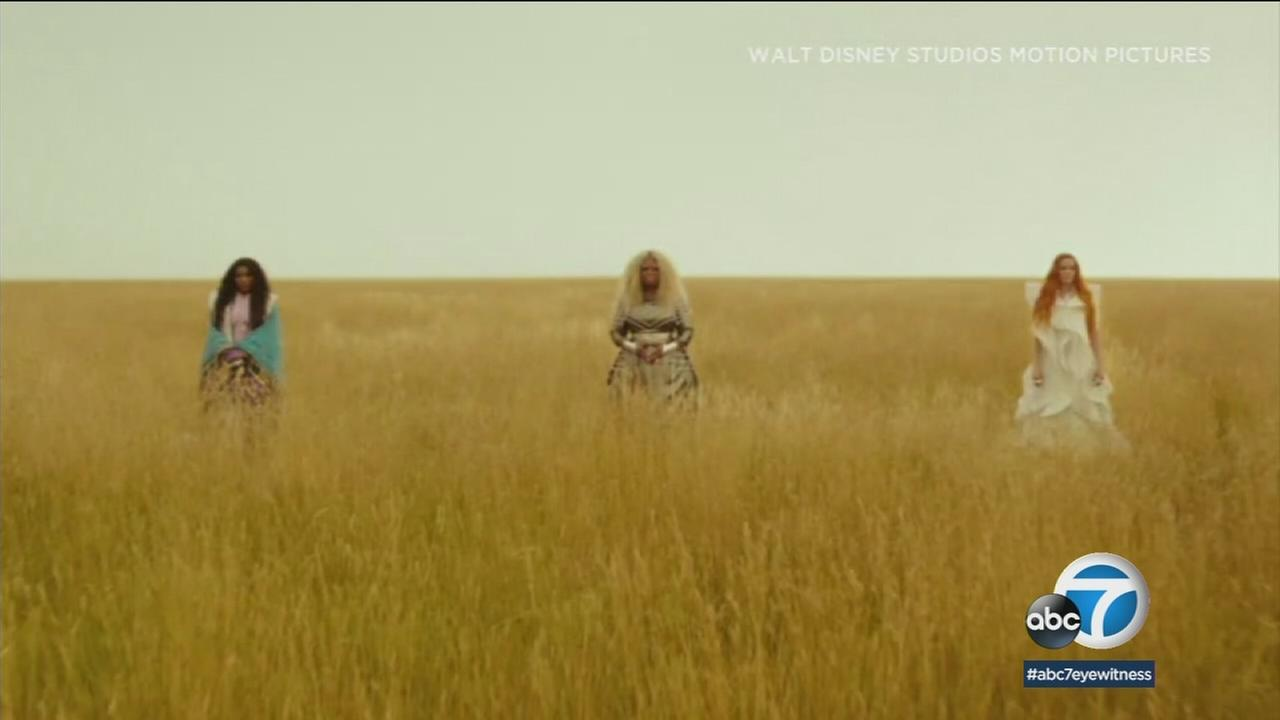 Mindy Kaling, Oprah and Reese Witherspoon are shown in a scene from their new movie A Wrinkle in Time.
