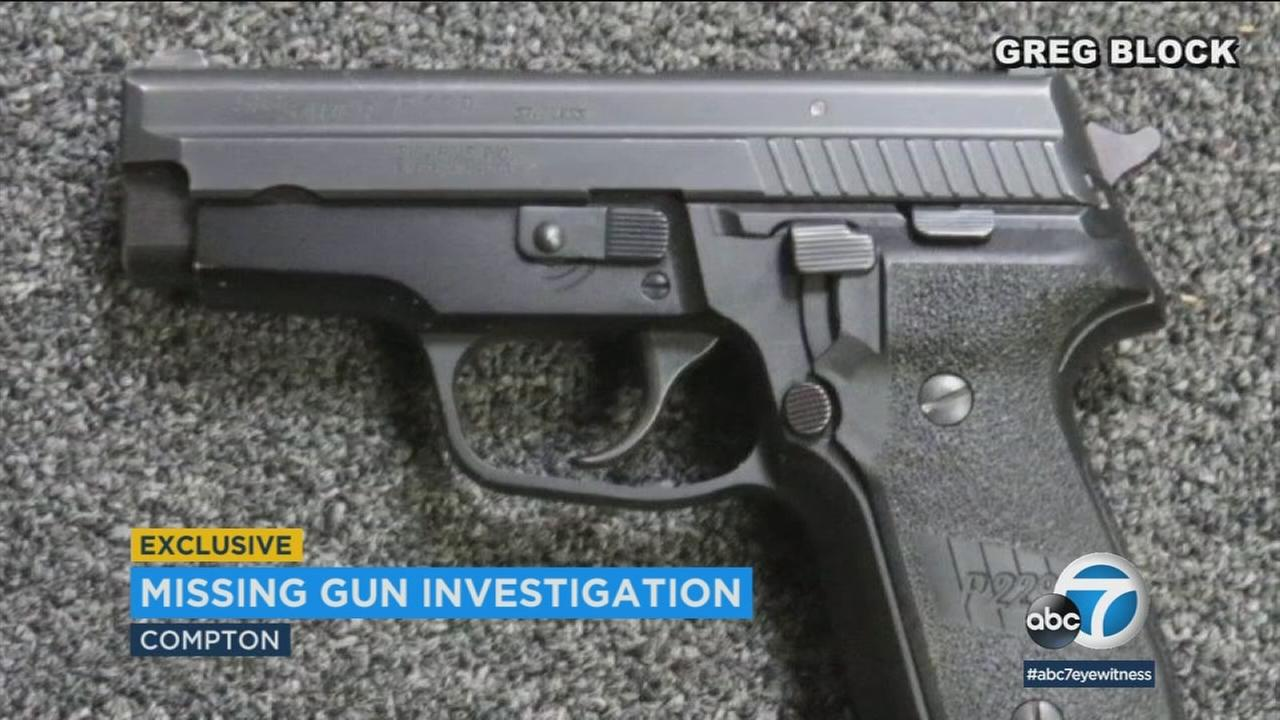 A gun is shown that went missing from a vault in Compton.
