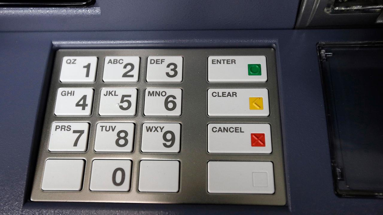 This Wednesday, Aug. 30, 2017, photo, shows an automated teller machine keypad.