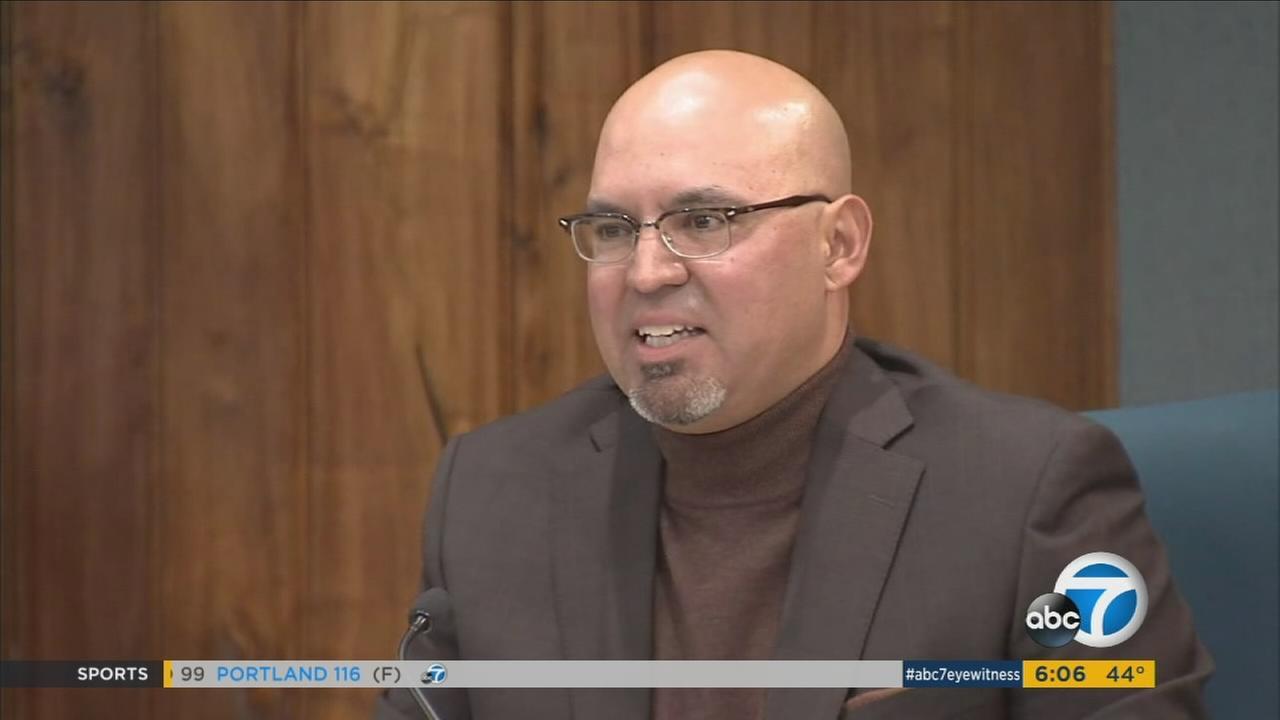 Embattled Pico Rivera City Councilman and El Rancho High School teacher Gregory Salcido speaks at a Pico Rivera City Council meeting, Tuesday, Feb. 27, 2018.