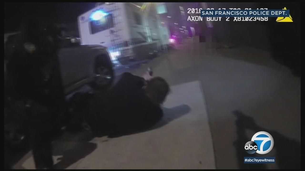 Shocking bodycam videos show San Francisco police unleashing a fusillade of bullets at a suspected killer, who fired back at officers.