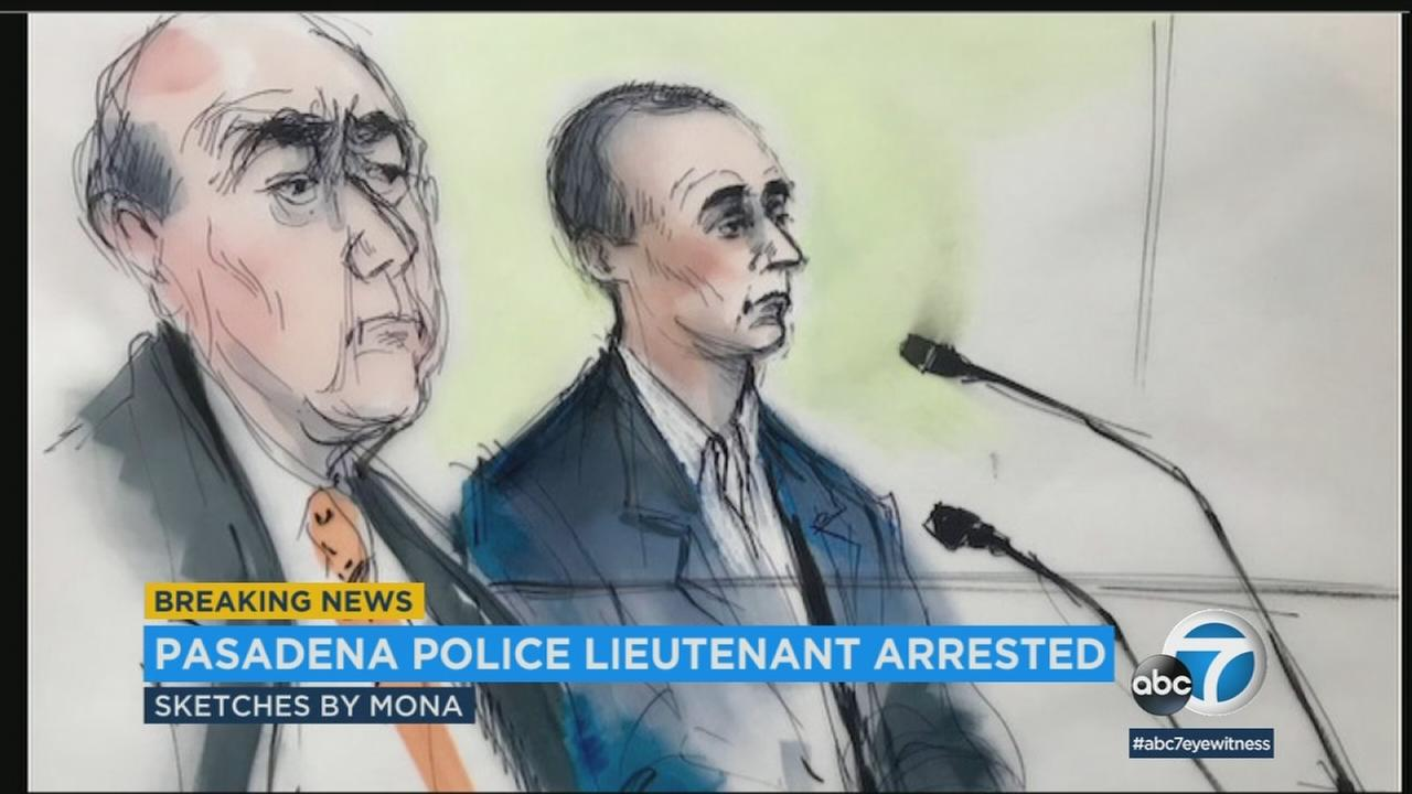 A sketch of a Pasadena police lieutenant in court who turned himself in Friday, March 2, 2018, after being charged with selling guns without a license.