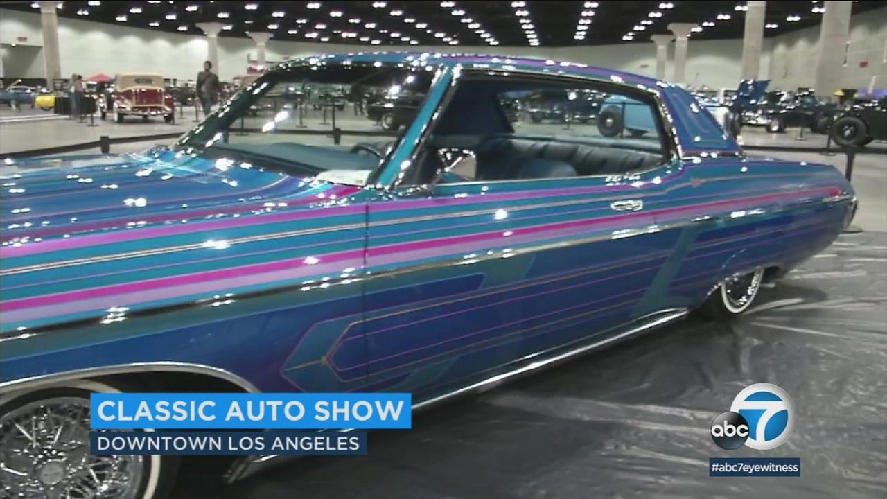 A classic car is shown at the classic cars auto show in downtown Los Angeles.