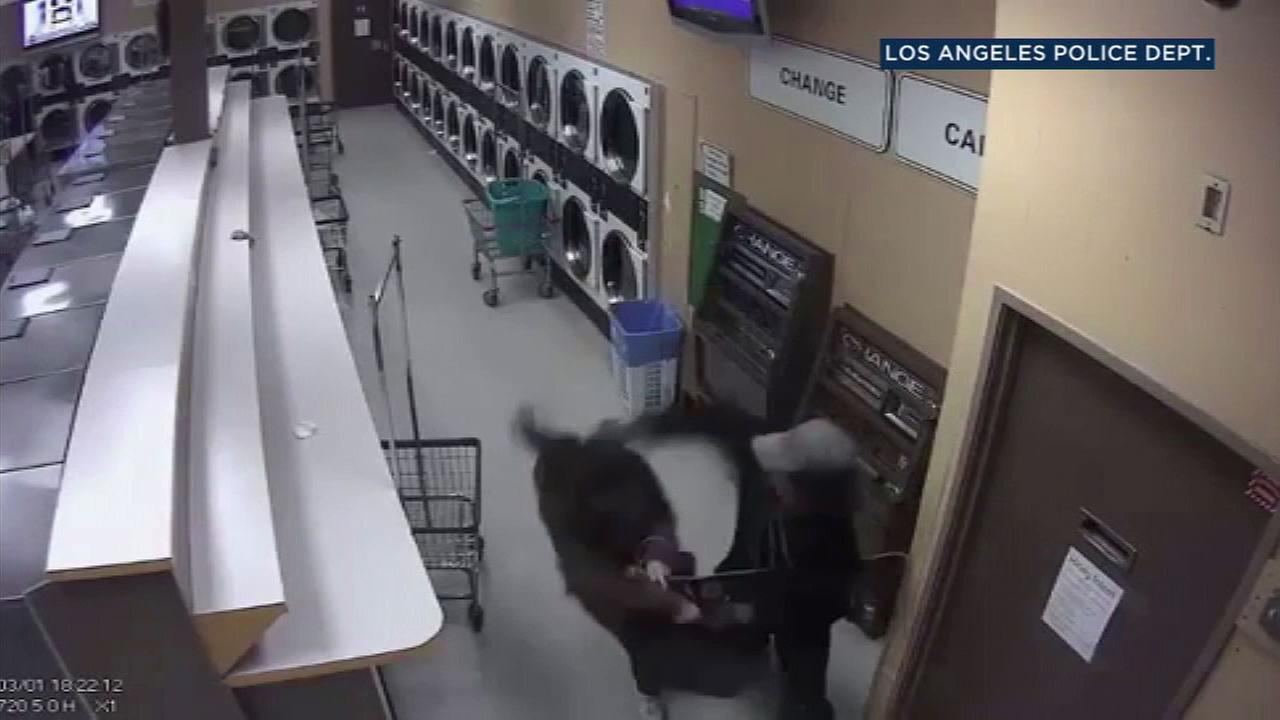 Video captures a suspect slashing a woman in the throat during a robbery at a laundromat in Pico-Union.