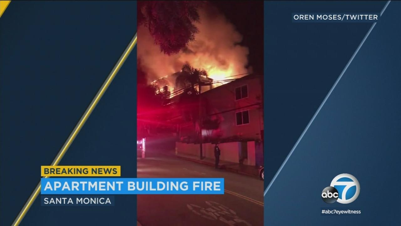Video shows a large apartment fire in Santa Monica on Saturday, March 3, 2018.