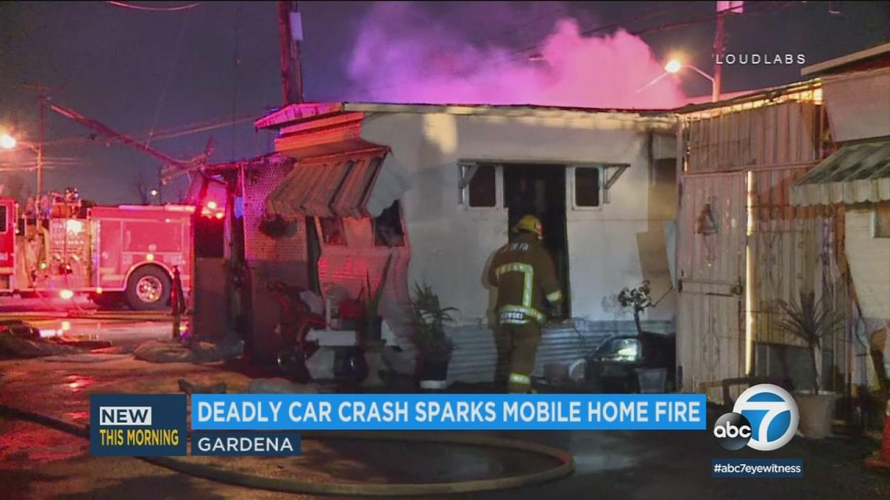 A fatal crash involving a car and a power pole set off a fire that spread to a mobile home in Gardena on Saturday, March 3, 2018.