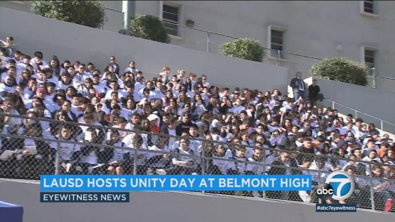 Hundreds of students packed the bleachers at Belmont High School for Unity Day - an event it hosted with the Los Angeles Unified School District.
