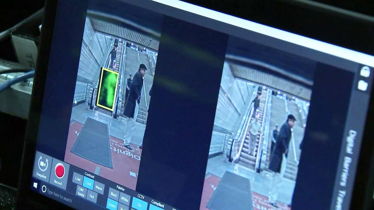 A new security system is tested to screen people at the 7th Street Metro station in downtown Los Angeles on Tuesday, March 6, 2018.