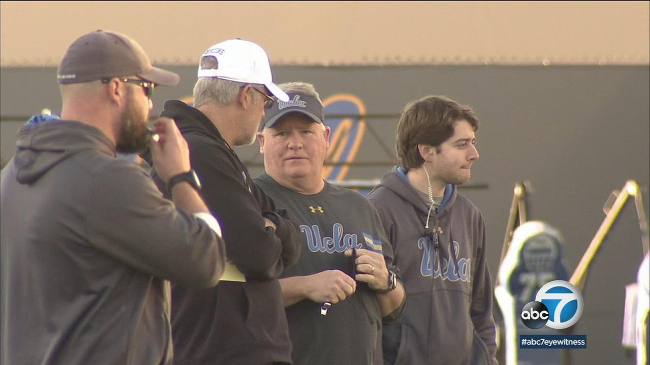 New UCLA football head coach Chip Kelly began his first practice Tuesday in Westwood.