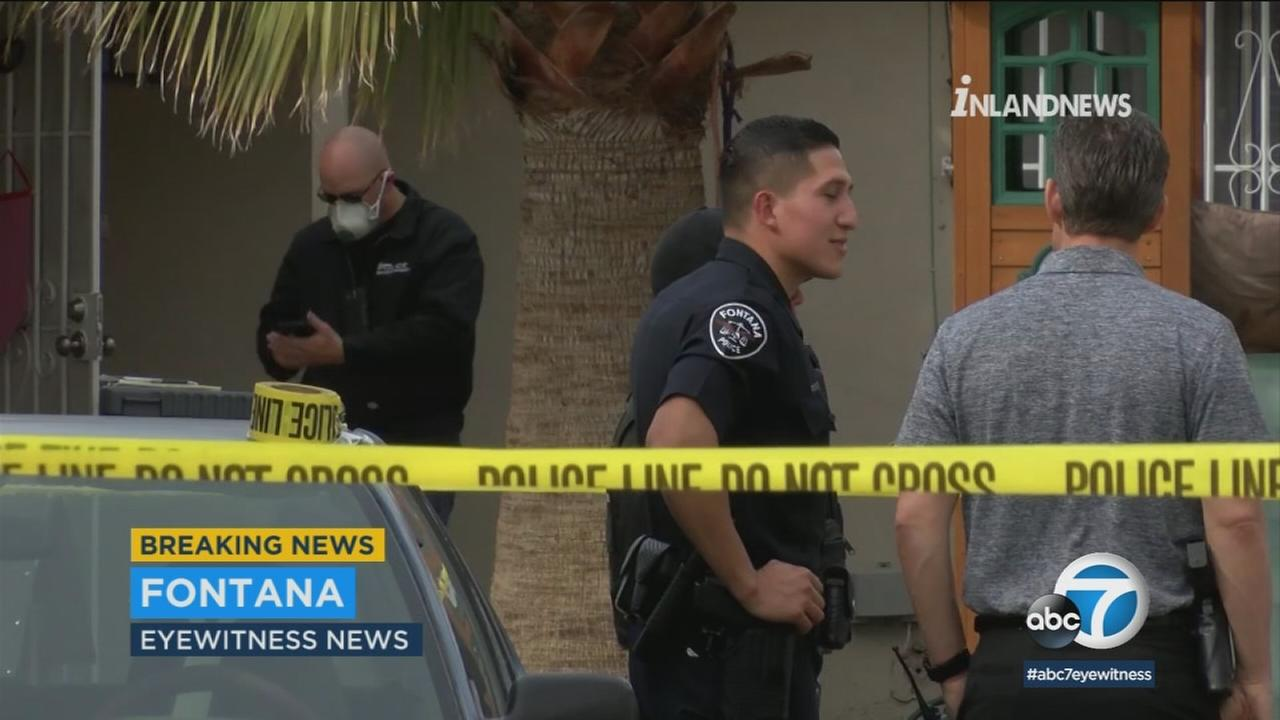 Authorities surrounded a home where two bodies were found in Fontana on Friday, March 9, 2018.
