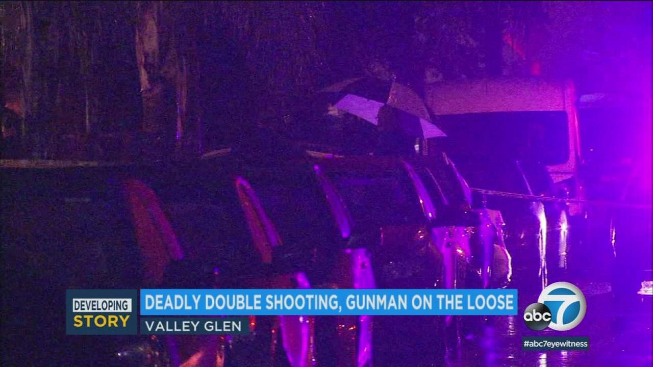 An area where a gunman opened fire on two men in Valley Glen, killing them, Saturday, March 10, 2018.