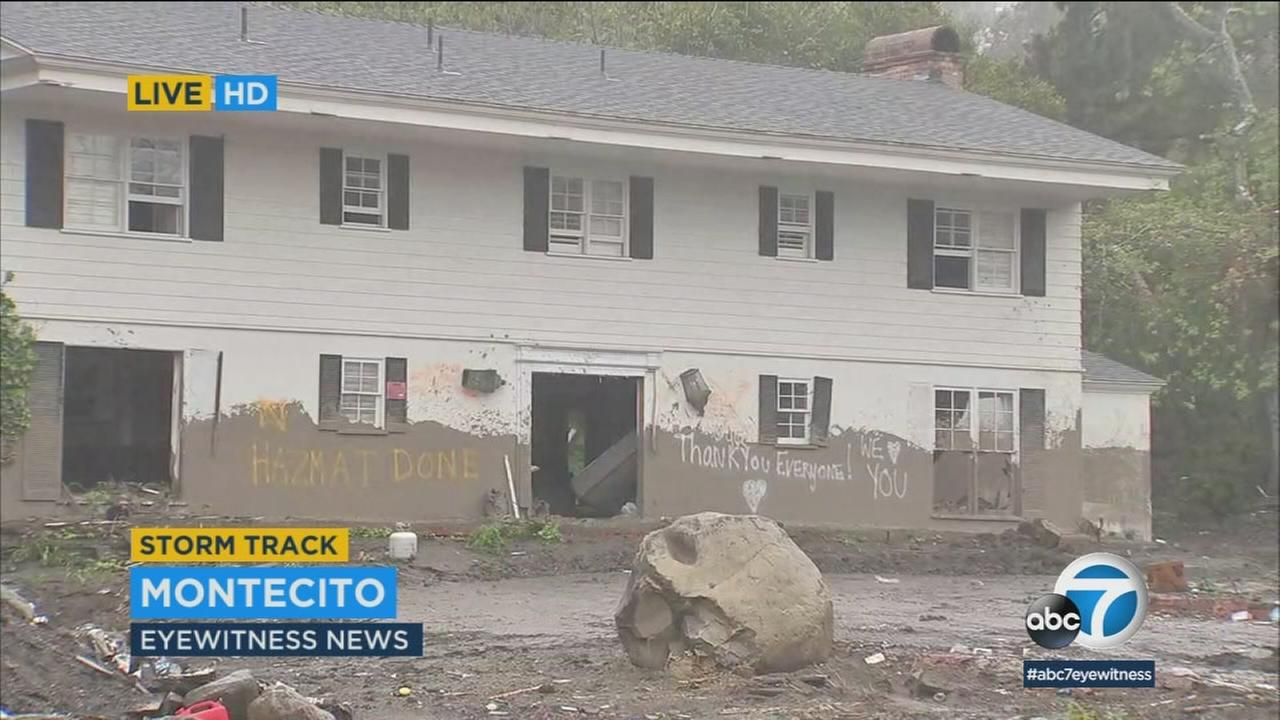 Mud surrounds a Montecito home during a storm on Tuesday, March 13, 2018.