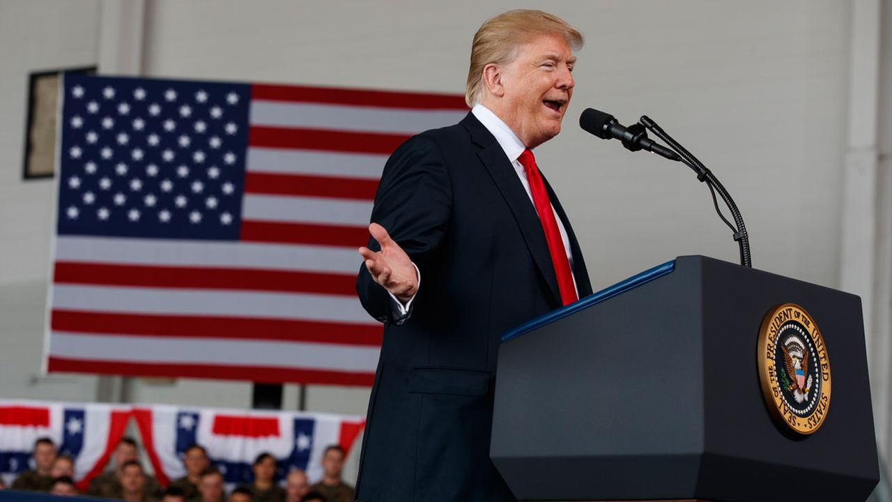 President Donald Trump speaks to service members at Miramar Air Corps Air Station, Tuesday, March 13, 2018, in San Diego.