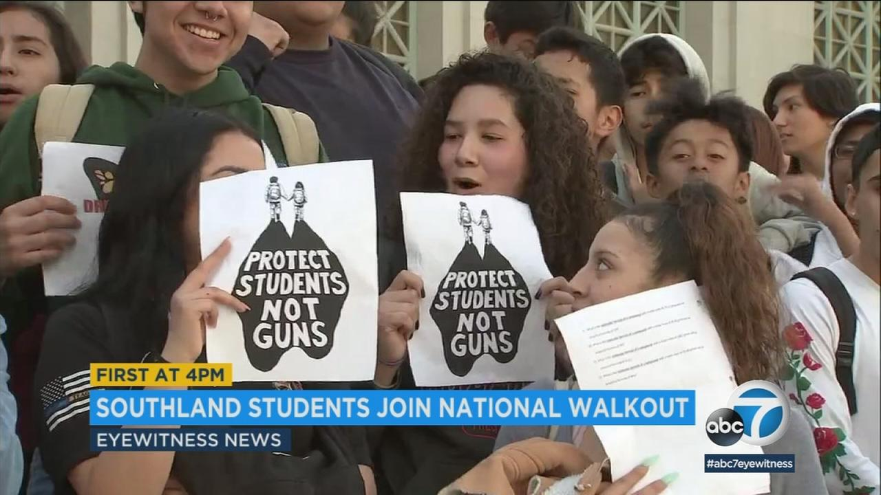 Students walked out of class in Southern California and around the country on Wednesday as part of a national movement that calls attention to gun violence.
